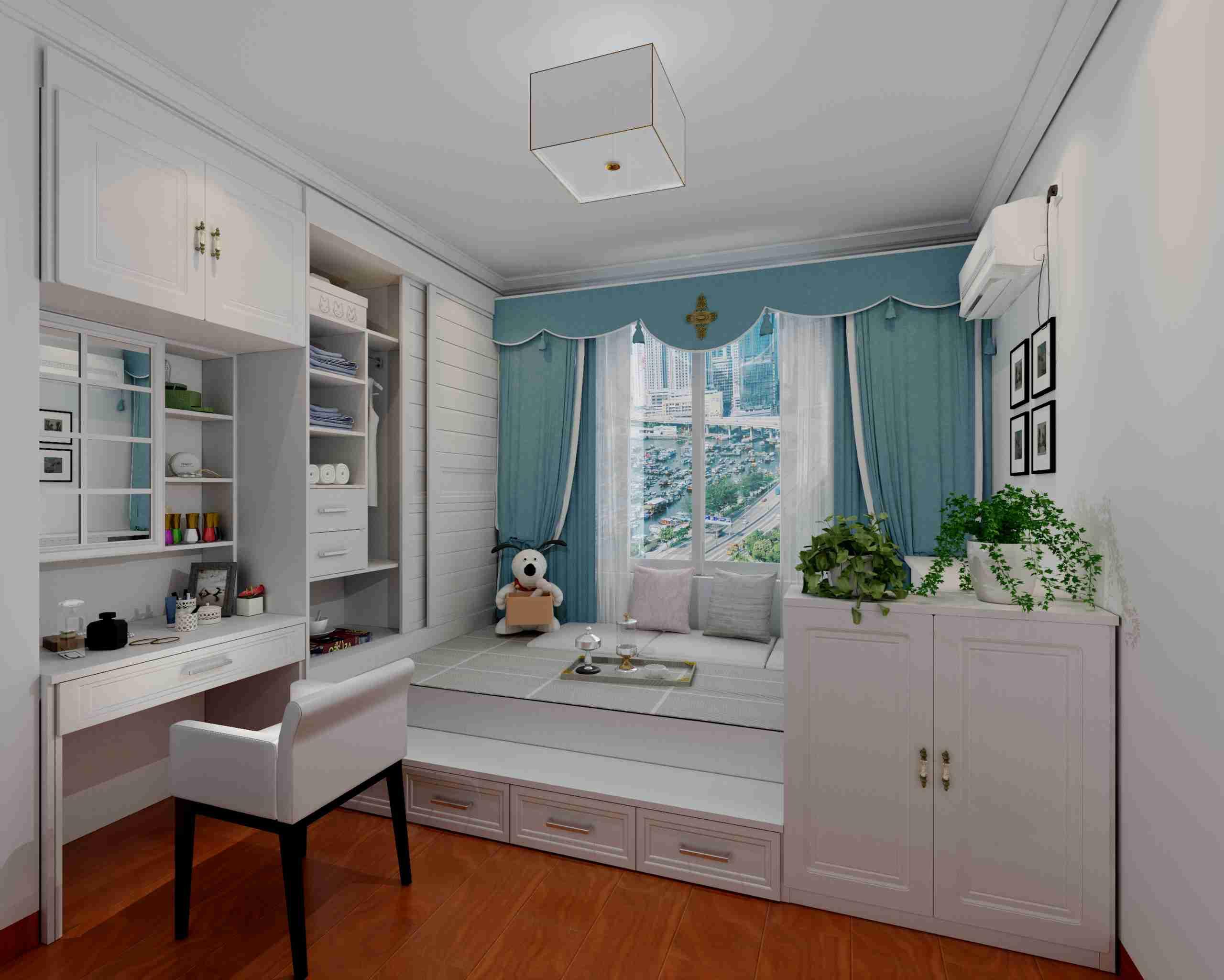 中心只一个矮柜,链接了书橱与书桌,一起也极好的装饰了窗台的方位.
