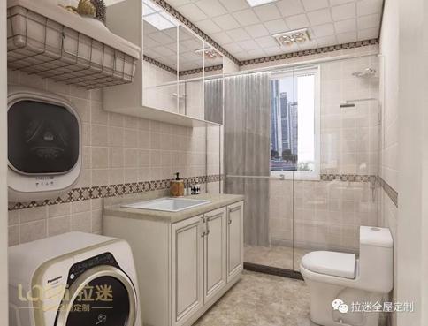卫生间      卫生间同样采用大理石台面,并在顶柜用镜子作为