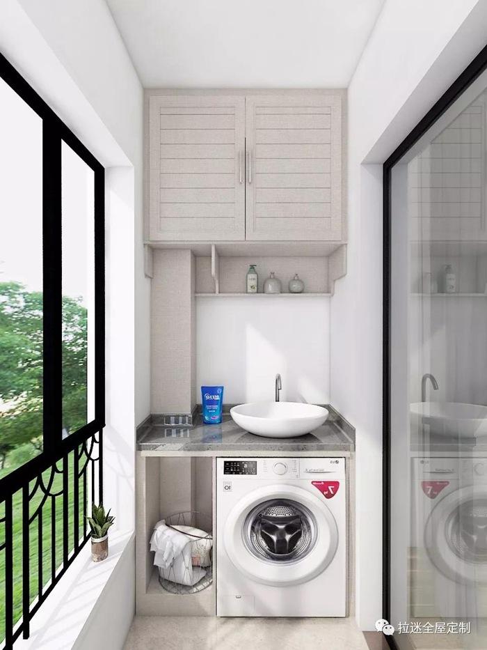 洗衣房 收纳柜 绿化区      洗衣机放浴室怕受潮,放厨房又占地方,阳台
